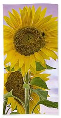Sunflower With Colorful Evening Sky Beach Towel