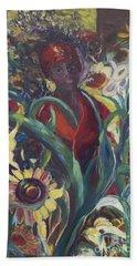 Sunflower Woman #1 Beach Towel