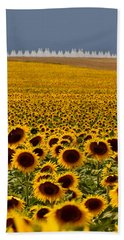 Beach Towel featuring the photograph Sunflowers And Airports by Ronda Kimbrow