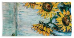 Sunflowers And Frog Beach Towel by Xueling Zou