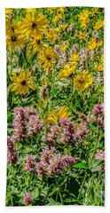 Beach Towel featuring the photograph Sunflowers And Horsemint by Sue Smith
