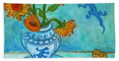 Beach Towel featuring the painting Sunflowers And Lizards by Xueling Zou