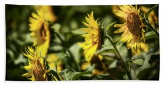Beach Towel featuring the photograph Sunflowers In The Wind by Steven Sparks