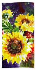 Beach Towel featuring the painting Sunflowers Impressionism by Irina Sztukowski