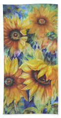 Sunflowers On Blue I Beach Sheet
