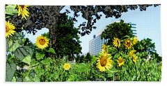 Sunflowers Outside Ford Motor Company Headquarters In Dearborn Michigan Beach Towel