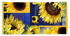 Sunflowers Sunny Collage Beach Towel by Irina Sztukowski