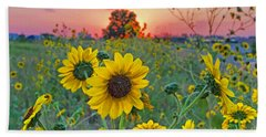 Sunflowers Sunset Beach Towel by Gary Holmes