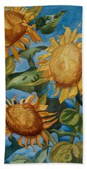 Sunflowers Watercolor Beach Towel