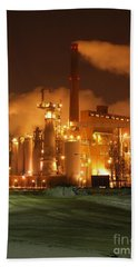 Sunila Pulp Mill By Winter Night Beach Towel