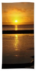 Beach Towel featuring the photograph Sunkist Sunset by Athena Mckinzie