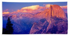 Sunlight Falling On A Mountain, Half Beach Towel by Panoramic Images