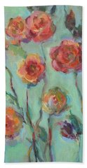 Beach Towel featuring the painting Sunlit Garden by Mary Wolf