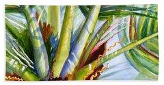 Sunlit Palm Fronds Beach Sheet by Carlin Blahnik