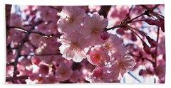 Sunlit Cherry Blossoms Beach Sheet by Rona Black