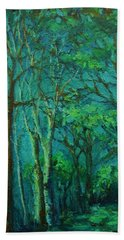 Sunlit Woodland Path Beach Towel