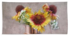 Sunny Treasure Flowers In A Copper Jug Beach Sheet