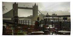 Sunny Rainstorm In London England Beach Towel