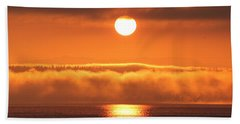 Sunrise And Fog Beach Towel by E Faithe Lester