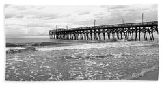 Sunrise At Surfside Bw Beach Sheet by Barbara McDevitt
