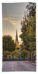 Sunrise At The End Of The Street Beach Towel by Daniel Sheldon