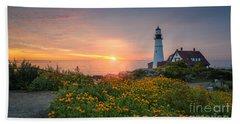 Sunrise Bliss At Portland Lighthouse Beach Towel