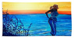 Beach Towel featuring the painting Sunrise Blues by Ecinja Art Works