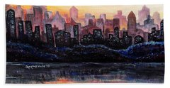 Beach Towel featuring the painting Sunrise City by Shana Rowe Jackson