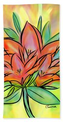Sunrise Lily Beach Towel by Christine Fournier