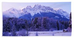 Sunrise On Snowy Mountain Beach Towel