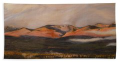 Beach Towel featuring the painting Sunrise On The Ibex Valley by Brian Boyle