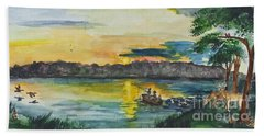 Sunrise On The Lake Beach Towel
