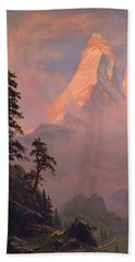 Sunrise On The Matterhorn Beach Sheet by Albert Bierstadt