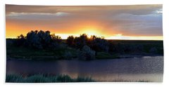 Sunrise Over Kinney Lake Beach Towel by Clarice  Lakota