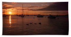 Sunrise Over Lake Michigan Beach Towel by Miguel Winterpacht