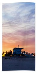 Sunrise Over Venice Beach Beach Towel by Art Block Collections