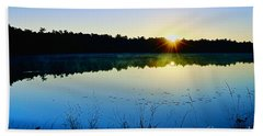 Sunrise Over The Lake Beach Towel
