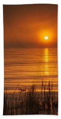 Sunrise Through The Fog Beach Sheet by Scott Norris
