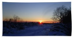 Sunset After The Snow Beach Sheet by Robert Nickologianis