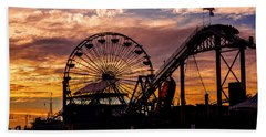 Sunset Amusement Park Farris Wheel On The Pier Fine Art Photography Print Beach Towel