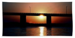 Sunset And Bridge Beach Sheet by Debra Forand