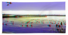 Sunset And Geese - Use Red-cyan 3d Glasses Beach Towel