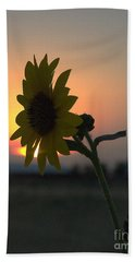 Beach Towel featuring the photograph Sunset And Sunflower by Mae Wertz