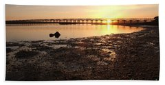 Sunset And Wooden Bridge In Ludo Beach Sheet