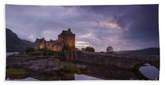 Sunset At Eilean Donan Castle Beach Towel