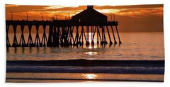 Sunset At Ib Pier Beach Sheet by Barbie Corbett-Newmin