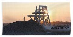 Sunset At Jones Beach Beach Sheet by John Telfer