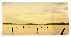 Beach Sheet featuring the photograph Sunset At Lake Muskoka by Les Palenik