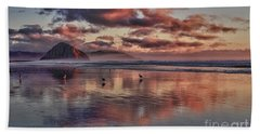 Sunset At Morro Strand Beach Towel