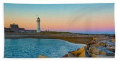 Sunset At Old Scituate Lighthouse Beach Towel